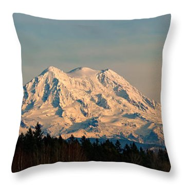 Mt Rainier Winter Panorama Throw Pillow