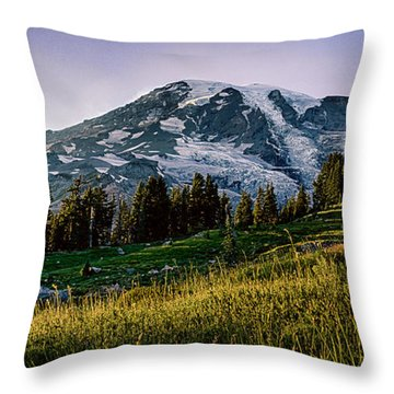 Mt Rainier With Purple Sky Throw Pillow by Chris McKenna