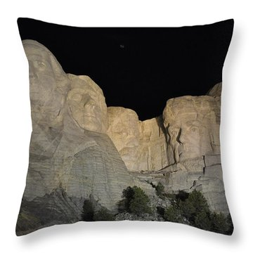 Mt. Rushmore At Night Throw Pillow