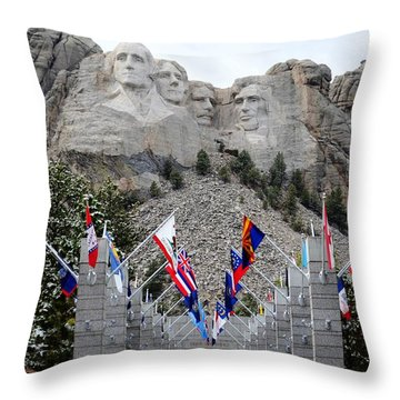 Mount Rushmore Flagway  Throw Pillow by Clarice  Lakota