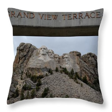 Mount Rushmore Grand View Terrace Throw Pillow by Clarice  Lakota