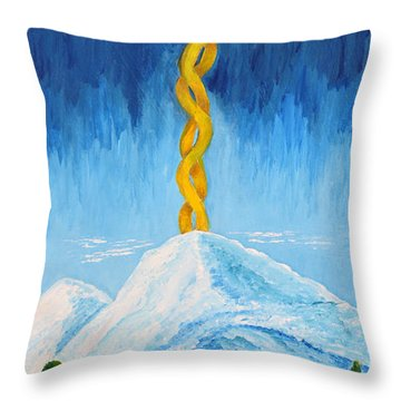 Throw Pillow featuring the painting Mt. Shasta by Cassie Sears