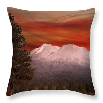 Mt Shasta Fire In The Sky Throw Pillow