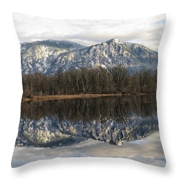 Mt Si From Mill Pond 2 Throw Pillow