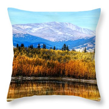 Mt. Silverheels With Aspens Throw Pillow