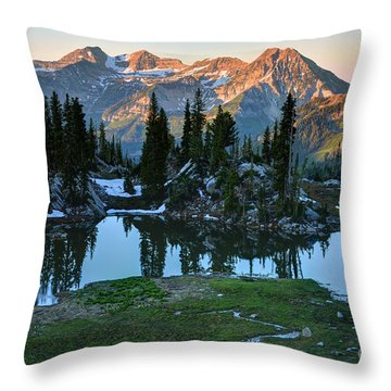 Mt. Timpanogos At Sunrise From Silver Glance Lake Throw Pillow