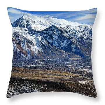 Mt. Timpanogos In Winter From Utah Valley Throw Pillow