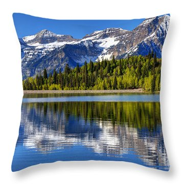 Mt. Timpanogos Reflected In Silver Flat Reservoir - Utah Throw Pillow by Gary Whitton