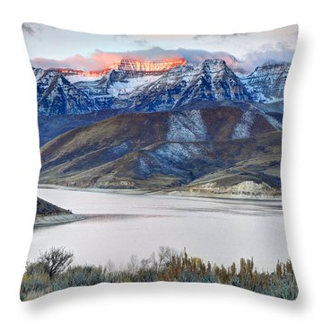 Mt. Timpanogos Winter Sunrise Throw Pillow