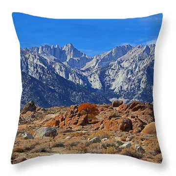 Mt.whitney From Alabama Hills Throw Pillow