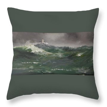 Muckle Flugga Lighthouse Shetland Throw Pillow