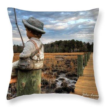 Mud Fishin' Throw Pillow by John Loreaux