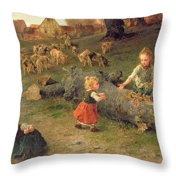 Mud Pies Throw Pillow by Ludwig Knaus