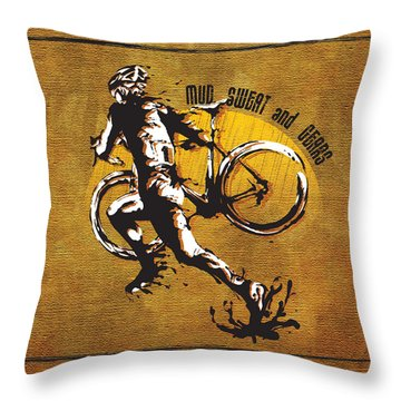 Mud Sweat And Gears Throw Pillow