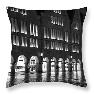 Cobblestone Night Walk In The Town Throw Pillow by Miguel Winterpacht