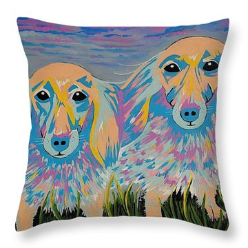 Mugi And Tatami - Contemporary Dachshunds Dog Art Throw Pillow