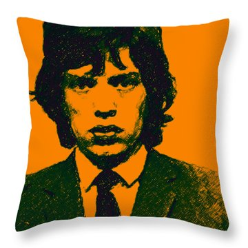 Mugshot Mick Jagger P0 Throw Pillow
