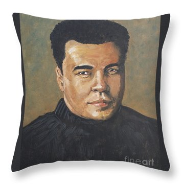 Throw Pillow featuring the painting Muhammad Ali/the Greatest by Dwayne Glapion