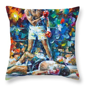 Muhammad Ali Throw Pillow by Leonid Afremov