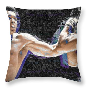 Muhammad Ali Throw Pillow by Tony Rubino