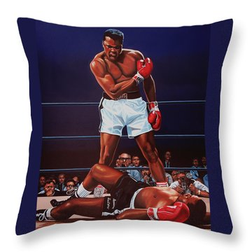 Muhammad Ali Versus Sonny Liston Throw Pillow