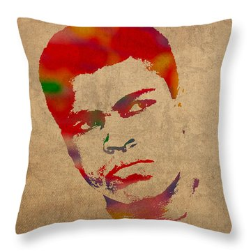 Muhammad Ali Watercolor Portrait On Worn Distressed Canvas Throw Pillow by Design Turnpike
