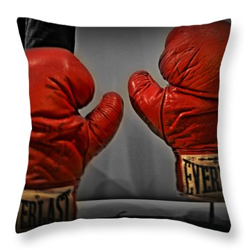 Muhammad Ali's Boxing Gloves Throw Pillow by Bill Cannon