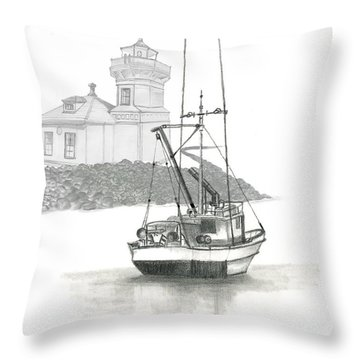 Throw Pillow featuring the drawing Mukilteo Lighthouse by Terry Frederick