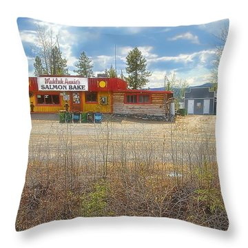 Throw Pillow featuring the photograph Mukluk Annie's Salmon Bake by Dyle   Warren