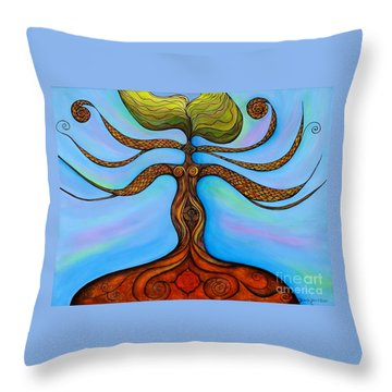 Throw Pillow featuring the painting Muladhara by Deborha Kerr