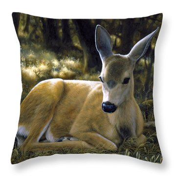 Mule Deer Fawn - A Quiet Place Throw Pillow