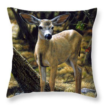 Mule Deer Fawn - Monarch Moment Throw Pillow