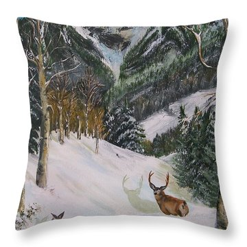 Throw Pillow featuring the painting Mule Deer In Winter by Sharon Duguay