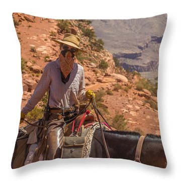 Mule Wrangler On The South Kaibab Trail Throw Pillow