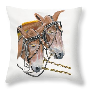 Mules - Two - Beast Of Burden Throw Pillow
