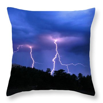 Multi Arc Lightning Strike Throw Pillow