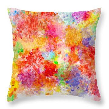 Multi Colored Ditgital Abstract 4 Throw Pillow by Debbie Portwood