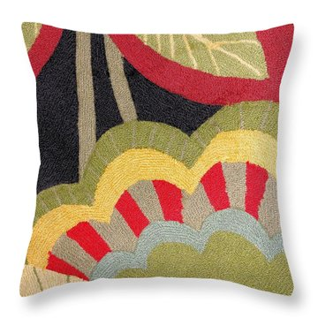 Throw Pillow featuring the photograph Multi-colored Flowers Leaves Textile by Janette Boyd