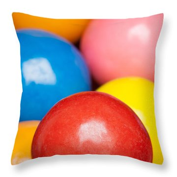 Throw Pillow featuring the photograph Multi-colored Gumballs by Bryan Mullennix