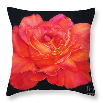 Multi-colored Rose Oils On Canvas - Print Throw Pillow by Margaret Newcomb