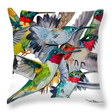 Da053 Multi-hummers By Daniel Adams Throw Pillow