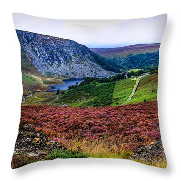 Multicolored Carpet Of Wicklow Hills. Ireland Throw Pillow