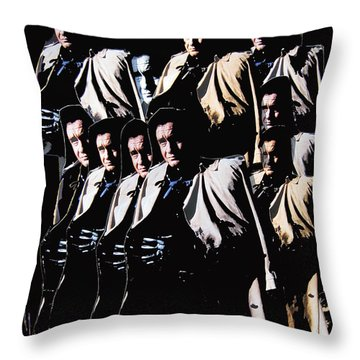 Throw Pillow featuring the photograph Multiple Johnny Cash In Trench Coat 1 by David Lee Guss