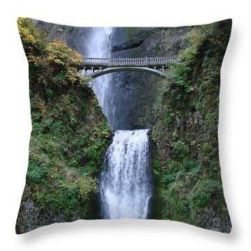 Throw Pillow featuring the photograph Multnomah Falls by Athena Mckinzie