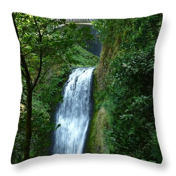 Multnomah Falls Bridge 2 Throw Pillow
