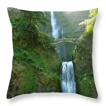 Multnomah Falls Throw Pillow by Christiane Schulze Art And Photography