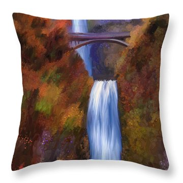 Multnomah Falls In Autumn Throw Pillow by Angela A Stanton