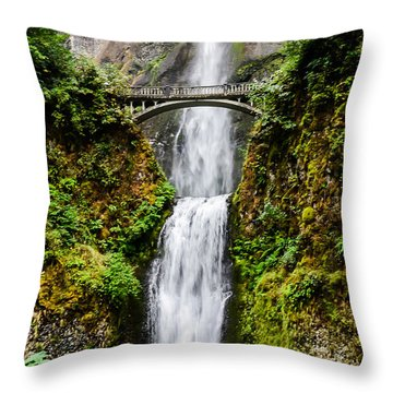 Multnomah Falls Oregon Waterfalls Throw Pillow by Puget  Exposure