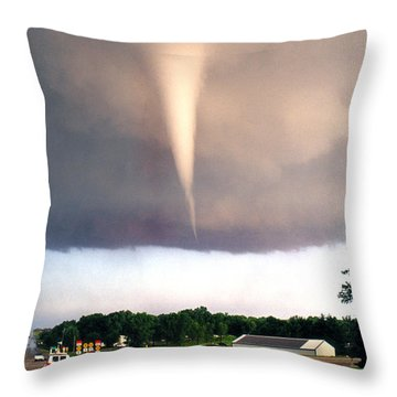Throw Pillow featuring the photograph Mulvane Tornado With Storm Chasers by Jason Politte