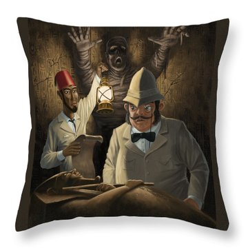 Mummy Awake Throw Pillow by Martin Davey